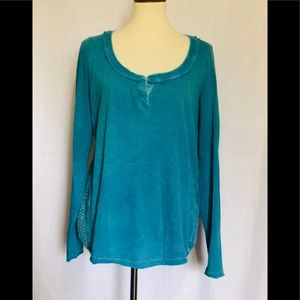 Free People teal crocheted long sleeve top